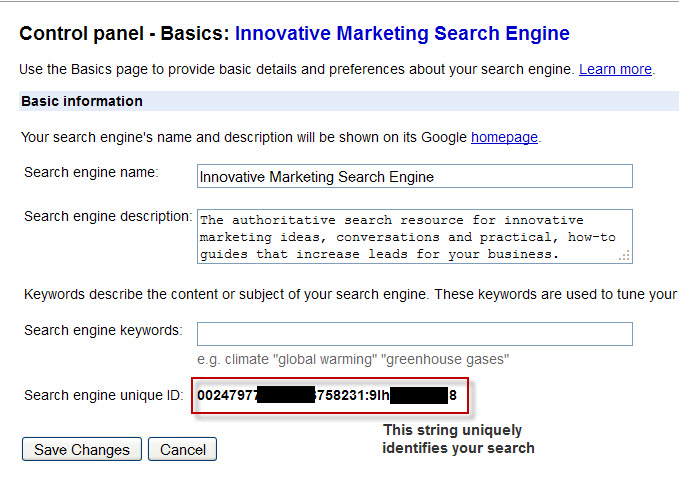 google custom search control panel